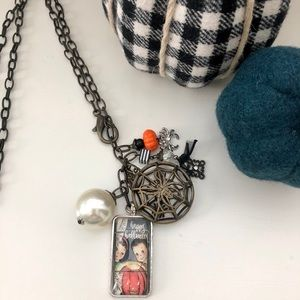 Plunder Design Cobweb Halloween necklace